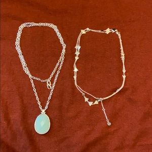 Two never worn Stella & Dot silver necklaces